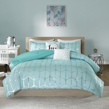 Karley Aqua Silver Metallic Dot 5PC Comforter Set