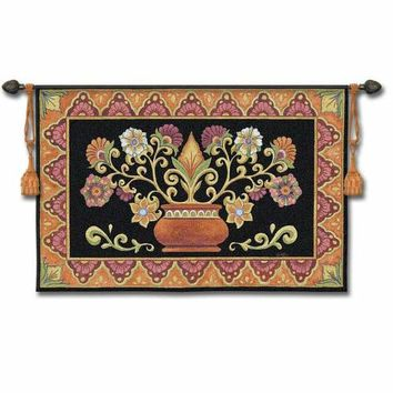 Pure Country Weavers 3824-WH Mexican Potted Folk Tapestry Wall Hanging