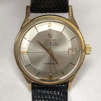 GETOW Vintage Men¡¯s 14k 585 OMEGA CONSTELLATION CHRONOMETER Automatic Watch 1960s