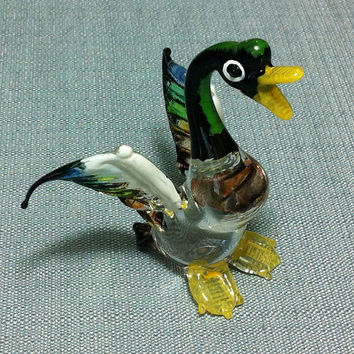 Hand Blown Glass Funny Duck Bird Animal Cute Black Green Blue Transparent Figurine Statue Decoration Collectible Small Craft Hand Painted