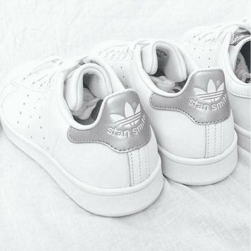 Unisex Men & Women Casual Sport Print Adidas Stan Smith Shoe Silver