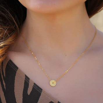 "Gold circle necklace, tiny disc necklace, bridesmaid necklace, circle necklace, 14k gold filled, bridal necklace, ""Target"" Necklace"