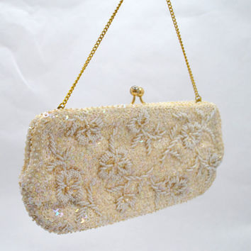 Vintage Off White Beaded and Sequined Clutch or Evening Purse, Hand Made in British Colony Hong Kong, 1950s
