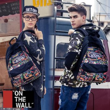 """Vans""Fashion Personality printing large capacity backpack bag leisure travel boom Print avengers(7 style)"