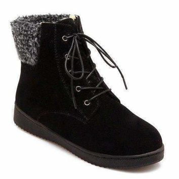 Faux Shearling Lace-Up Suede Snow Boots - Black 40