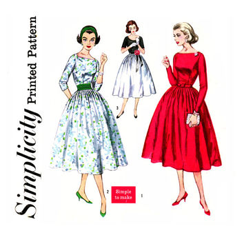 50s Full Skirt Dress 1950s Vintage Sewing Pattern Bust 36 UNCUT Simplicity 2338 Bateau Neck, Fit and Flare, Scoop Neck, Cummerbund, Evening