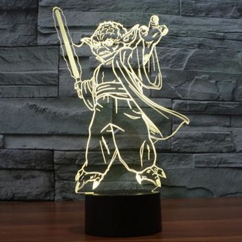 Star Wars Yoda Shape 3DLight 7 Color Change Night Light Home Decor Bedroom 3D Acrylic LED Art Lamp WB948 T40