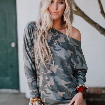 Make It Easy Waffle Knit Top - Camo