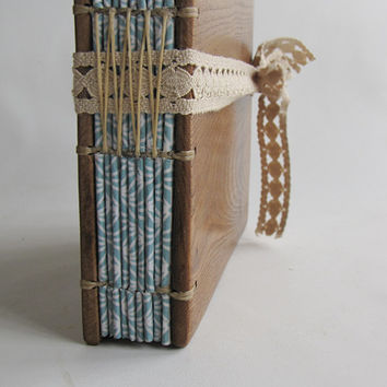 Diary from reclaimed wood Mid size with lace