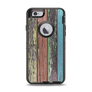 The Chipped Pastel Paint on Wood Apple iPhone 6 Otterbox Defender Case Skin Set