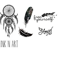 5pcs Dream On Free set tattoo dreamcatcher tattoo - InknArt Temporary Tattoo -  large pattern wrist tattoo body sticker fake tattoo quote