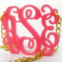 "Bubble Gum Pink Acrylic Monogram Necklace Small Size 1.25"" x 1.25"" With Free Monogram Sticker"