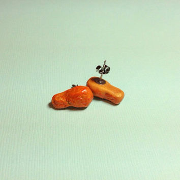 Miniature Spicy Buffalo Chicken Leg Earring Studs