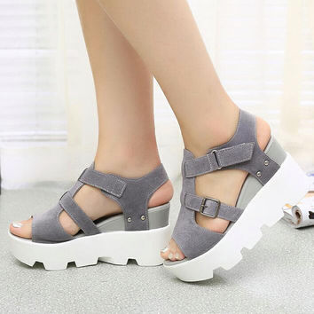 2017 Summer Sandals Shoes Women High Heel Casual Shoes footwear flip flops Open Toe Platform Gladiator Sandals Women Shoes Y48W