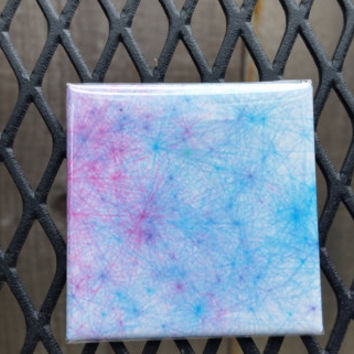 2x2 inch Fine Art Magnet. tie_02. Tie Die inspired Abstract Generative Art Math and Science. Kitchen Decor. Aqua blue and pink fuscia