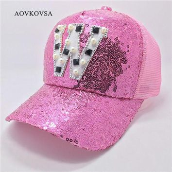 DCCKWJ7 2017 Fashion Women Casual Letter W Sequins Baseball Cap And Girl Summer Pearl Snapback Hat