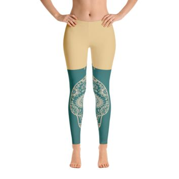 Art Gold-Green Pattern Leggings