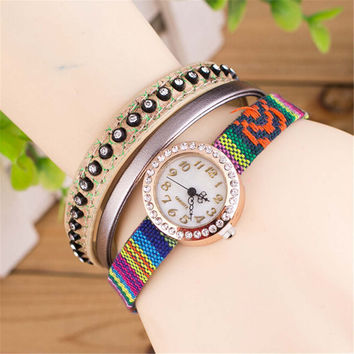 Womens Girls Unique Casual Ethnic Embroidery Rivet Strap Watch Best Christmas Gift Watch-447