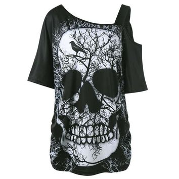 Skew Collar Skull Print T-shirt Women One Shoulder Loose Top
