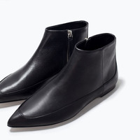 Flat leather booties