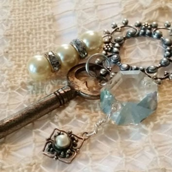 Vintage Assemblage Necklace, Silver Plated 24 Inch Chain, Filigree Key Necklace, Antique Skeleton Key, Chandelier Crystal Bead, 3 Pearl Drop