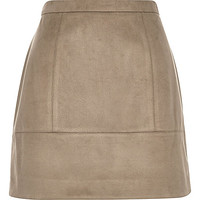 Brown faux-suede A-line skirt - mini skirts - skirts - women