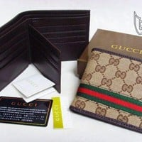 Discount Gucci Mens Brown Red Green Classic GG Supreme Web Bi-fold Wallet