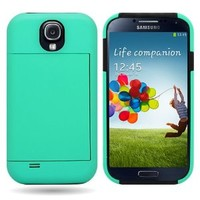 CoverON® Hybrid Dual Layer Case with Credit Card Holder for SAMSUNG I9500 GALAXY S 4 S IV- TEAL Hard BLACK Soft Silicone