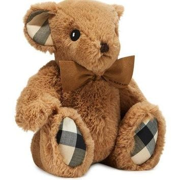 Burberry Plush Baby Teddy Bear w/ Check Trim | Neiman Marcus
