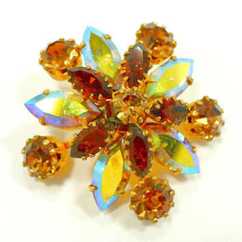 1960s Aurora Borealis, Amber & Topaz Rhinestone Brooch, AUSTRIA, AB and Gold, Fall Autumn Jewelry, Rockabilly, Gift For Her
