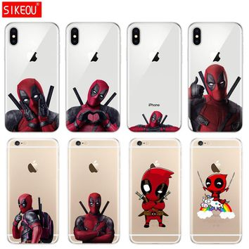 Silicone Cover Phone Case For Iphone 6 X 8 7 6s 5 5s SE Plus 10 Case soft tpu Super Marvel Deadpool transparent protective coque