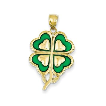 14k Yellow Gold & Green Acrylic Four Leaf Clover Pendant, 19mm