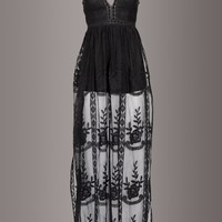 Black Magic Woman V-Neck Lace Maxi Dress