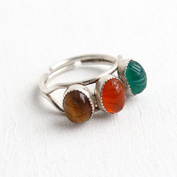 Vintage Sterling Silver Scarab Ring - Tiger's Eye, Carnelian, Chrysoprase Gem Jewelry Hallmarked Beau Adjustable Egyptian Revival Jewelry