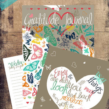 Printable Gratitude Journal / Prayer Journal / Gratitude Diary/ Hearts & Butterflies