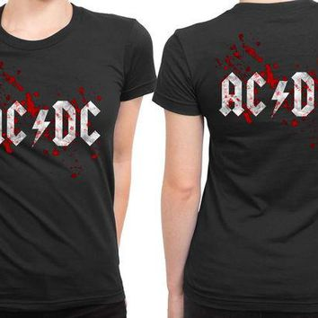 VONEED6 ACDC Blood 2 Sided Womens T Shirt