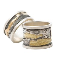 Spool Rings  by Sonia Beauchesne: Gold   Silver Ring - Artful Home