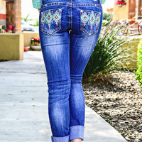 GRACE IN L.A. AZTEC WATERS SKINNY JEANS
