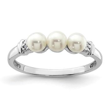 Sterling Silver Diamond And 3 Freshwater Cultured Pearl Ring
