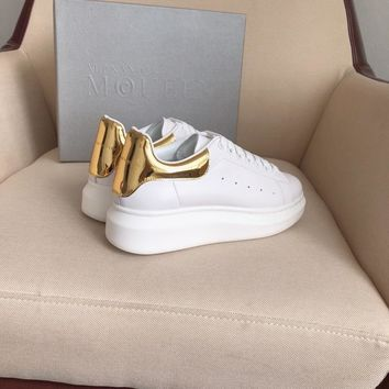 Alexander Mcqueen's world-class classic leather casual shoes watermelon golden mirror