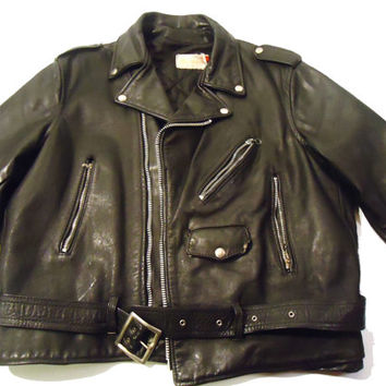 CLASSIC Vintage Leather Martani Motorcycle Jacket - Made In the USA - Size 46