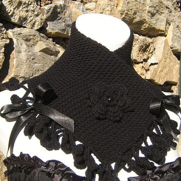 Knitted neck warmer scarf neck corset handmade flower lace crochet black color satin ribbon victorian steampunk