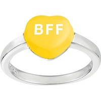 Sweethearts Sterling Silver Yellow 'BFF' Heart Ring, Size 6 (Best Friends Forever)