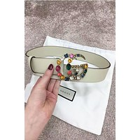 Gucci Fashion Women Belt Multicolor Diamond Leather Belt