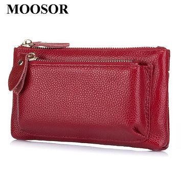 Genuine leather Women Bag Day Clutches Card Holder Zipper Coin Purse Women Wallet Mobile Phone Bags Pouch Storage Bag DC194