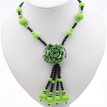Ethnic Imitation Jade Flower Resin Paint Beads Necklace