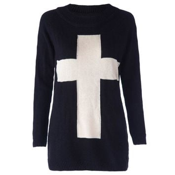 Casual Round Neck Long Sleeve Cross Color Block Women's Sweater