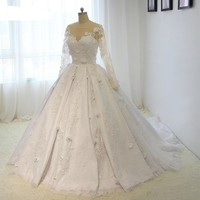 Luxury Satin Lace Flowers Wedding Dresses