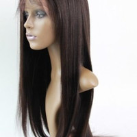 Full Lace Wig Handmade Wig 100% Malaysia Virgin Remy Human Hair Yaki Straight Color #2 Free Shipping