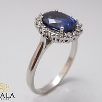 Diana Ring-14K White Gold Blue Sapphire Engagement Ring Blue Sapphire Ring Princ